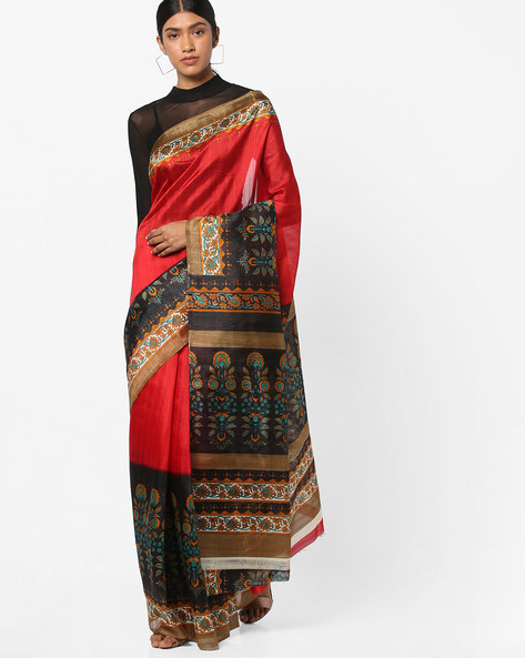 Floral Print Saree With Contrast Border By Ishaya ( Red )