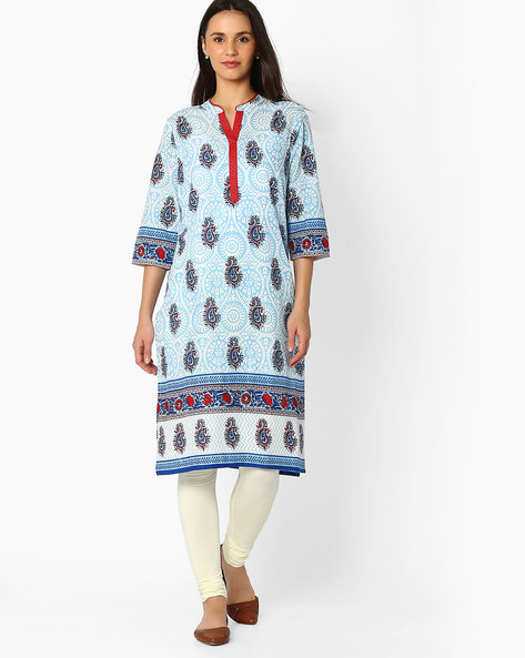 Printed Kurta With Mandarin Collar By Jiyaa ( Blue )