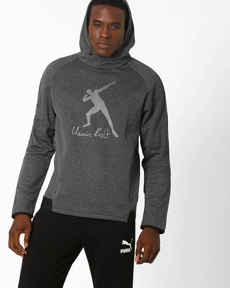 Usain Bolt Evostripe Slim Fit Hoodie By Puma ( Darkgrey )