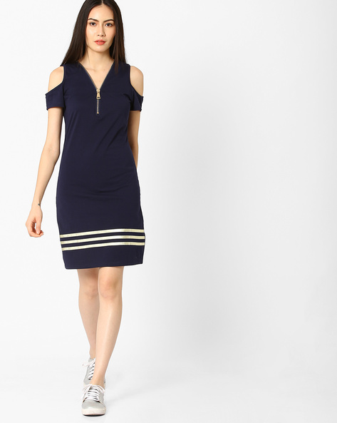 Cold-Shoulder Dress With Zipped Closure By Ginger By Lifestyle ( Navy )