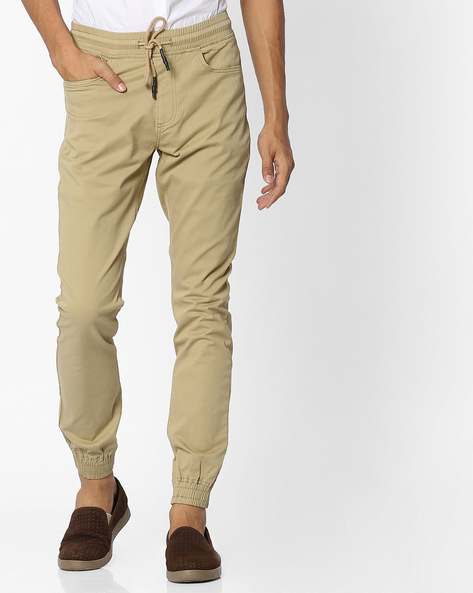 Mid-Rise Joggers With Drawstring Fastening By Nature Casuals ( Khaki )