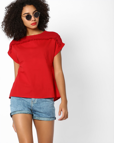 Top With Embroidered Shoulder Yoke By AJIO ( Red )