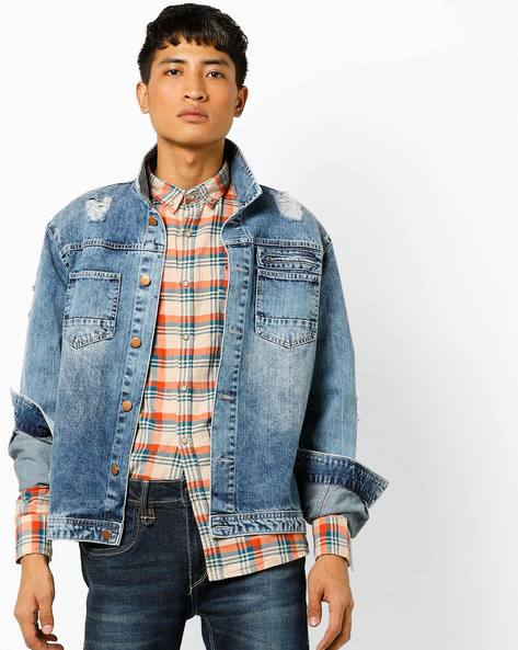 Slim Fit Checked Shirt With Button-Down Collar By FLYING MACHINE ( Orange )