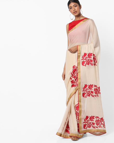 Chiffon Saree With Floral Embroidery By Vastrangi ( Offwhite )