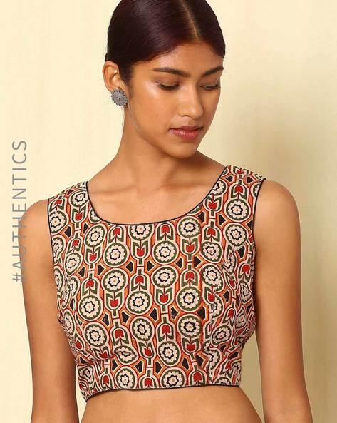 Kalamkari Handblock Print Cotton Sleeveless Blouse By Indie Picks ( Multi )