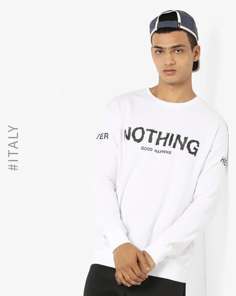 Typographic Print Crew-Neck Sweatshirt By ALCOTT ( White )