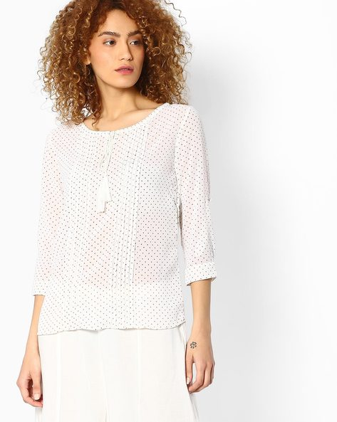 Polka-Dot Print Top With Pintucks By BOSSINI ( Offwhite )