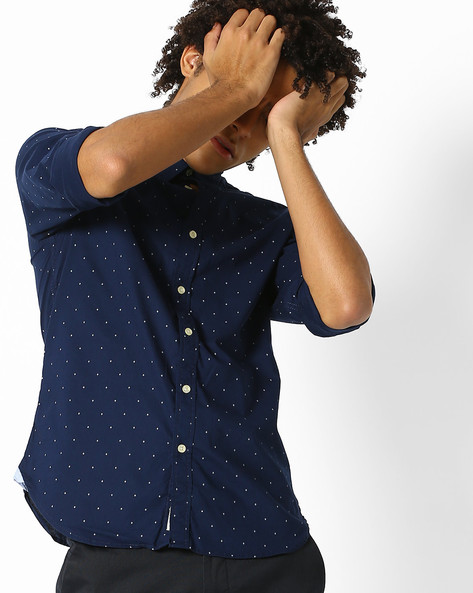 Ditsy Print Shirt With Curved Hem By Pepe Jeans ( Navy )