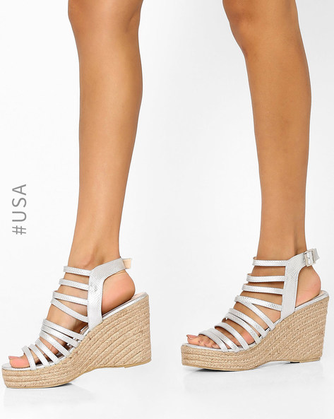 Strappy Wedges With Buckle By QUPID ( Silver )