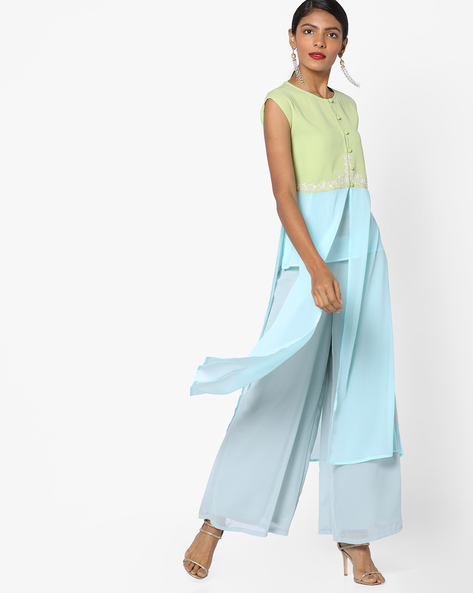 Panelled Kurta With Palazzo Pants By AJIO ( Green )
