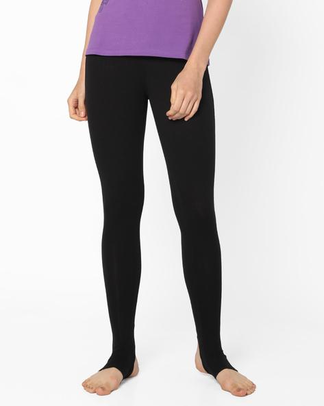 Stirrup Leggings With Elasticated Waist By AJIO ( Black )