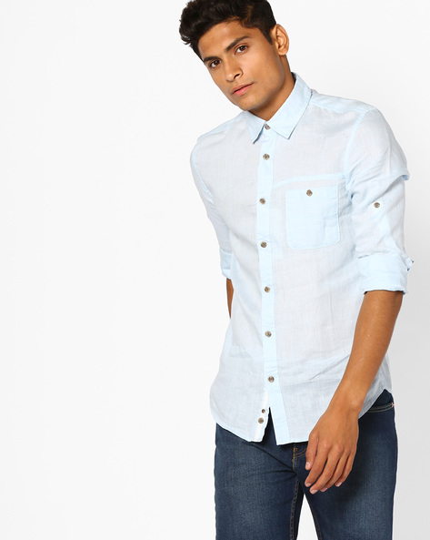 Linen Shirt With Buttoned Patch Pocket By Celio ( Lightblue )