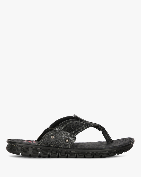 Genuine Leather Flip-Flops By Lee Cooper ( Black )