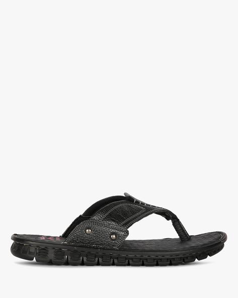 Genuine Leather Flip-Flops By Lee Cooper ( Black )