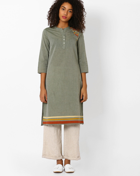 Straight Kurta With Mandarin Collar By AJIO ( Green )