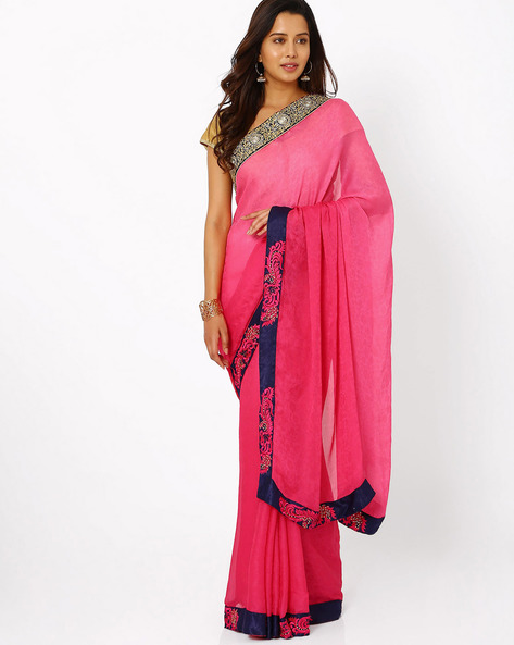 Embroidered Chiffon Saree By Florence ( Pink )