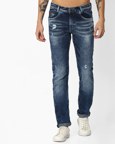 Mid-Wash Distressed Jeans By MUFTI ( Darkblue )