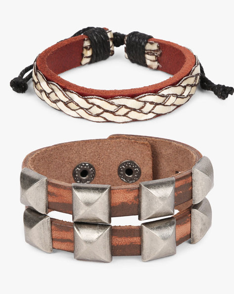 Set Of 2 Bracelets By ALPHA MAN ( Brown ) - 460134332001
