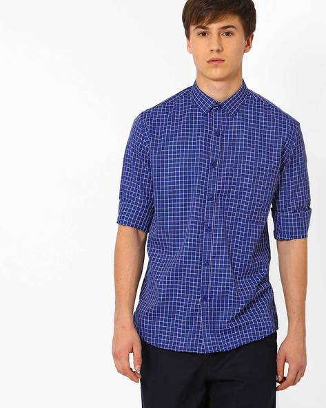 Slim Fit Checked Formal Shirt By British Club ( Navyblue )
