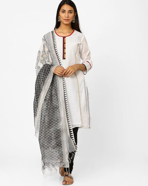 Chanderi Churidar Kurta With Dupatta By Trishaa By Pantaloons ( Offwhite )