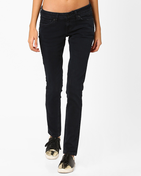 Low-Rise Skinny Jeans By Pepe Jeans ( Blue )
