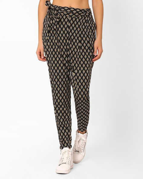 Printed Pants With Tie-Up By AJIO ( Black )