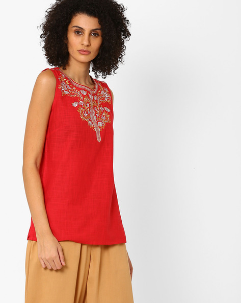 Relaxed Fit Pure Cotton Kurti By AURELIA ( Red )