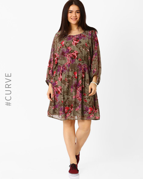Floral Print Fit & Flare Dress By Oxolloxo ( Brown )