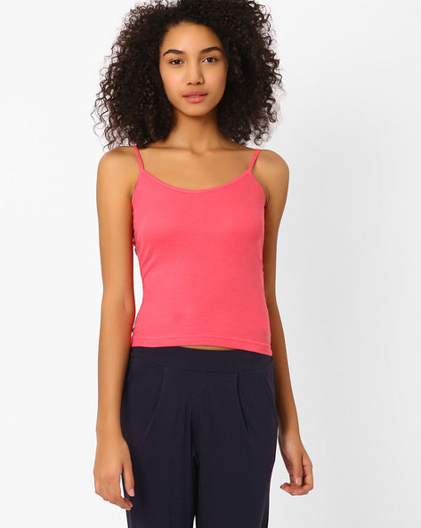 Cotton Camisole With Adjustable Straps By HANES ( Coral )