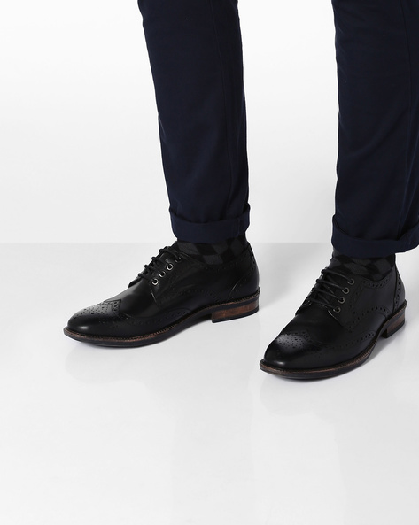 Genuine Leather Derby Shoes With Broguing By TEAKWOOD LEATHERS ( Black )
