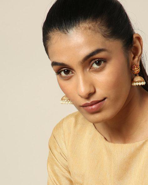 Lakshmi Goddess Pearl Drops Brass Jhumkas By Spargz ( Gold )