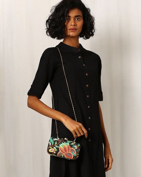 Embroidered Pure Raw Silk Box Clutch By Molcha ( Black )