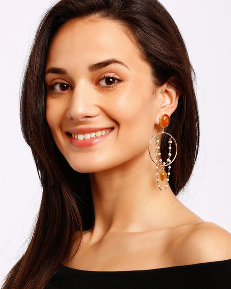 Gold-Plated Drop-Earrings With Beads By Ssoul ( Yellow )