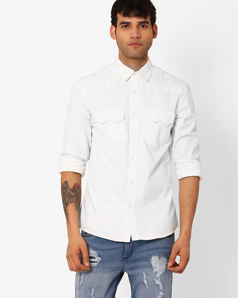 Slim Fit Shirt With Flap Pockets By Blue Saint ( White )