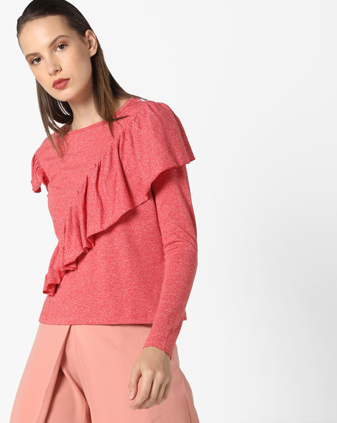 Full-Sleeved Ruffled Top By AJIO ( Coral )