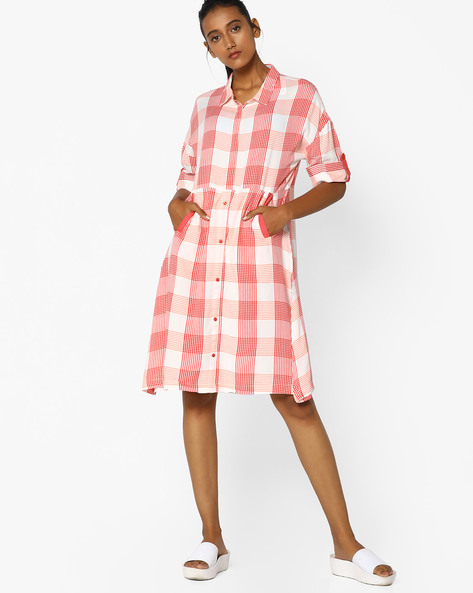 Checked Tunic With Insert Pockets By Arah ( White )
