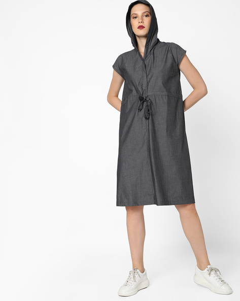 Hooded Shift Dress With Tie-Up By AJIO ( Grey )