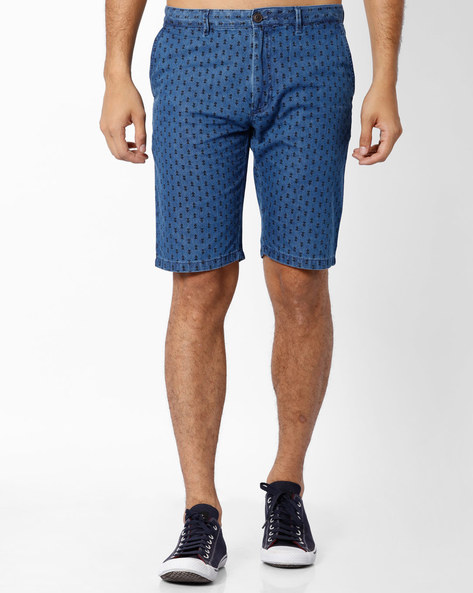 Printed Slim Fit Shorts By INDIAN TERRAIN ( Navyblue )