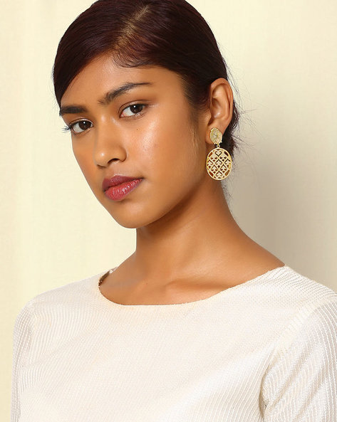 Gold-Plated Drop-Earrings With Cutwork By Indie Picks ( Gold )