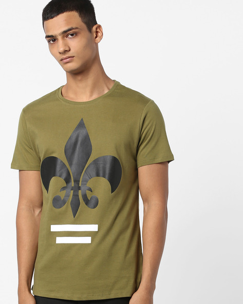 Crew-Neck T-shirt With PU Patch By AJIO ( Olive )