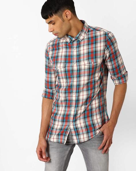 Checked Slim Fit Cotton Shirt By AJIO ( Beige )