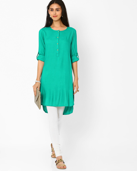 High-Low Tunic With Roll-up Tabs By FUSION ( Aqua )
