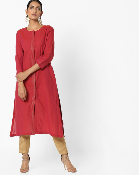 Straight Kurta With Pockets By Project Eve IW Casual ( Fuchsia )