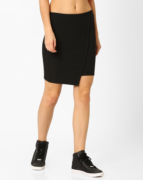Overlap-Front Bodycon Skirt By TALLY WEiJL ( Black )