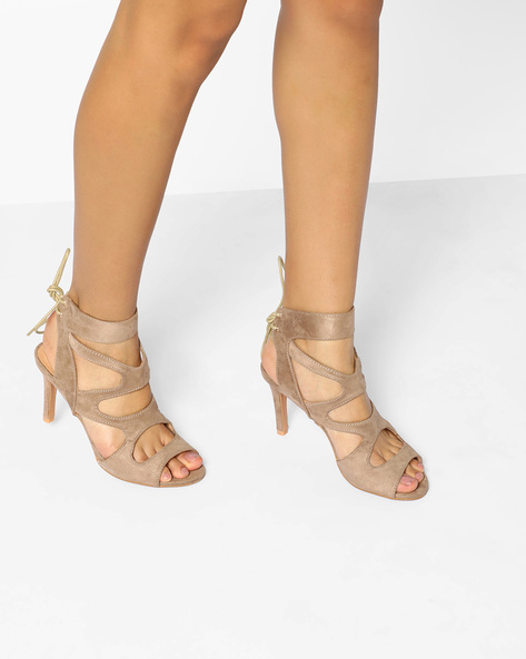 Tie-Up Stilettos With Cut-Outs By AJIO ( Beige )