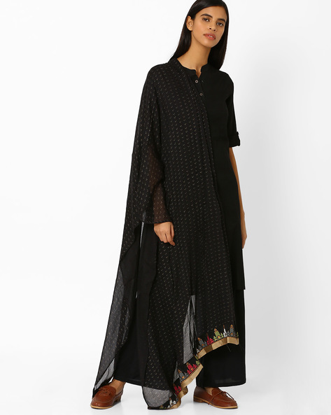Printed Viscose Dupatta By W ( Black )