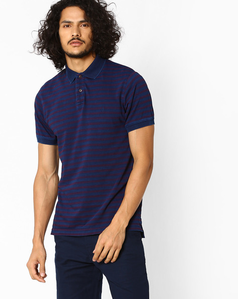 Regular Fit Striped Polo T-shirt By INDIAN TERRAIN ( Magenta )