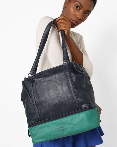 Textured Colourblock Tote Bag By BAGGIT ( Navyblue )