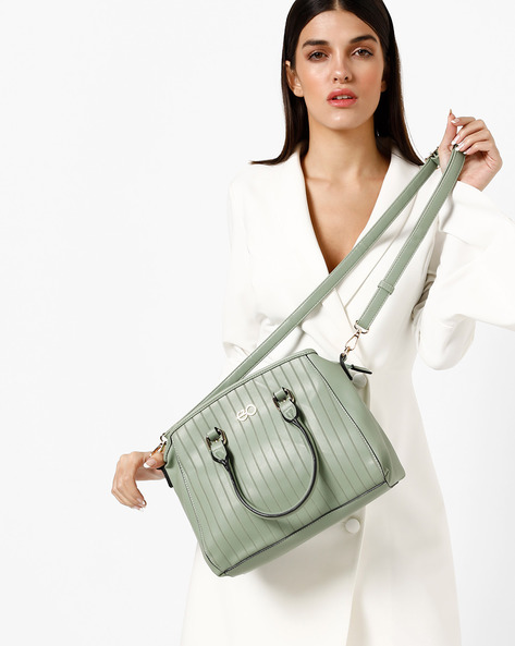 Stripe Textured Sling Bag With Detachable Strap By E2O ( Green )