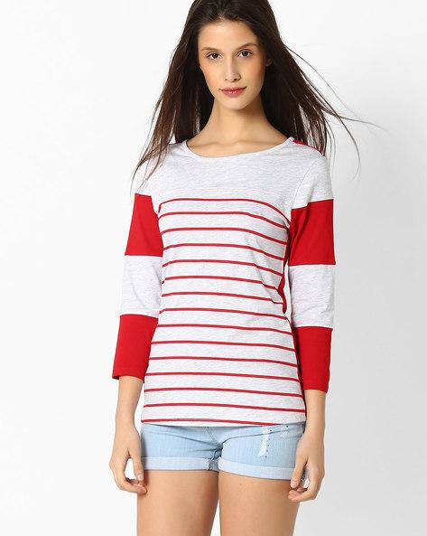 Striped Crew-Neck T-shirt By TEAM SPIRIT ( Red )